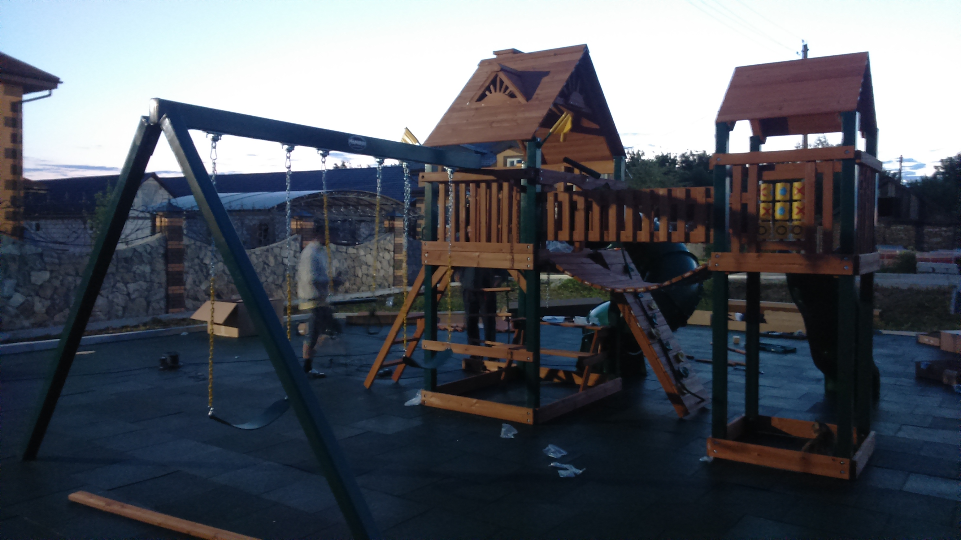 схема сборки деревянной детской площадки для дачи
